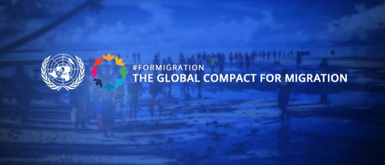 Banner dell Global Compact on migration
